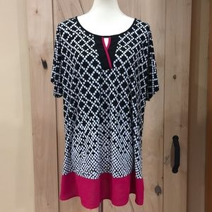 Roz & ali Black White Blouse 2X
